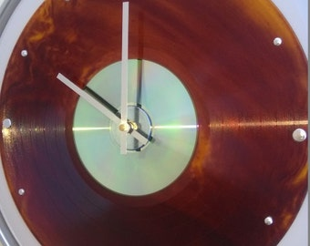 "14"" Drum Skin & Ring - Clock w/ Brown/Goldish Smoked/Marbled record and CD"