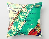 Decorative Pillow Cover NJ Map Pillow Cover, New Jersey Shore, Avalon New Jersey Map, Whale City, Stone Harbor, Sea Isle Decorative Pillow