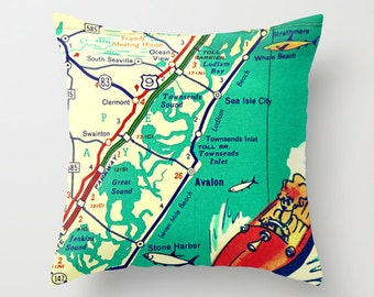 NJ Map Throw Pillow Cover New Jersey Shore Avalon