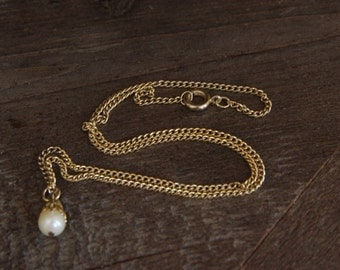 Gold Tone Chain Necklace w/ Faux Pearl Pendant