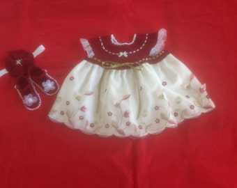 Handmade Crochet Newborn Baby Girl Dress Set - Burgundy & White
