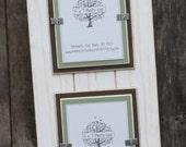 Picture Frame - Distressed Wood - Double Mats - Holds 2 - 5x7 Photos - White, Chocolate Brown & Sage Green