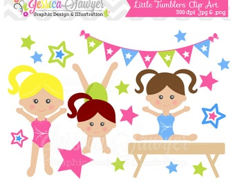 INSTANT DOWNLOAD, Gymnastics Clipart clip art or girls little tumbler clipart for personal or commercial use