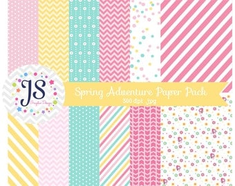 INSTANT DOWNLOAD, Spring Adventure Paper Pack, Spring Digital Papers for personal or commercial use
