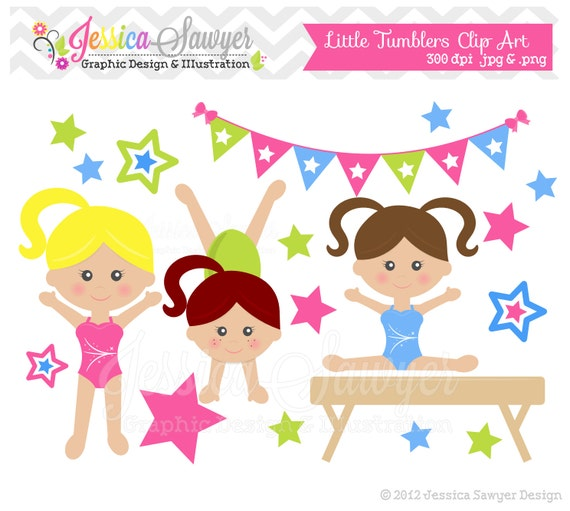 INSTANT DOWNLOAD Gymnastics Clipart Clip Art Or Girls Little