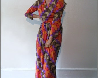 Vintage Geometric Pattern Maxi Dress / Multicolored / Retro Party Dress / Chevrons / Hexagons / 1970s