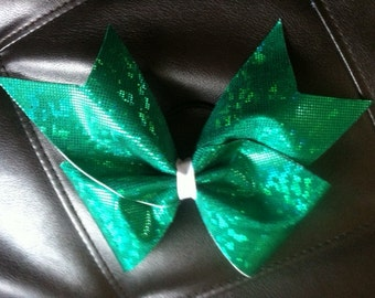 Shattered Glass Green Cheer Bow