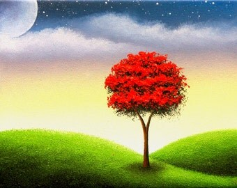 Landscape Painting Wall Art, Art Print of Red Tree Art, Whimsical Giclee Print Contemporary Art, Gift Ideas, Oil Painting, 4x5, 8x10, 11x14