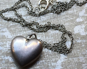 Antique Puffy Heart Necklace Antique Sterling Heart Charm on New Antiques Silver 17in Chain -Bridal Gifts- Valentine