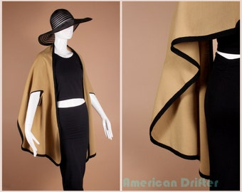Vintage 60s Camel + Black Avant Garde Cape Mod Jacket sz All Free