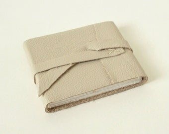 Pocket Size Cream Leather Blank Journal with Strap - Mini Book Handheld Tan