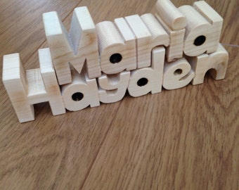 Wooden Block Names and Words - cut from softwood  PRICED PER LETTER