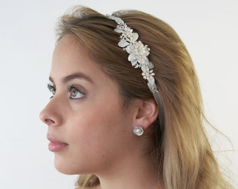 Pearls Flower Bridal Headband, Bella Bridal Headband, Pearl Wedding Head band, Wedding hair accessories, Bridal Headpieces,