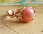 Pink Faux Pearl Ring, 14kt Gold-Fill Wire Wrapped Jewelry Handmade, Faux Pink Coral