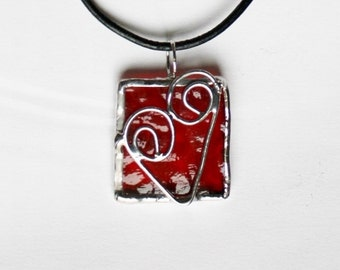 Stained Glass Heart Pendant, Bridesmaid Gift, Necklace with Red Heart, Valentine, Made in the USA