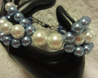 Triple Strand Blue And White Bracelet