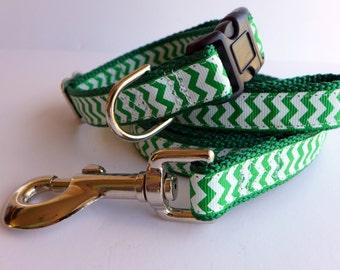 St Patricks Day Dog Collar Set Green and White Irish Chevron Dog Collar and Leash Set - puppy collar