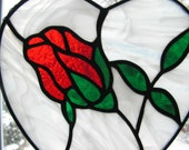 Red Rose in Heart Shaped Stained Glass Suncatcher