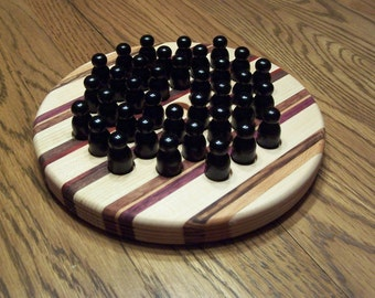Solitaire Game - small version with wooden pawns