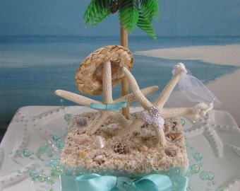 Starfish on a Beach Wedding Cake Topper~Palm Tree Cake Topper