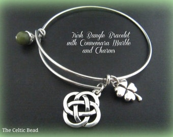 Irish Connemara Marble & Stainless Steel Bangle Bracelet with Celtic Knot and Shamrock Charm - Stackable Bracelet - Trendy