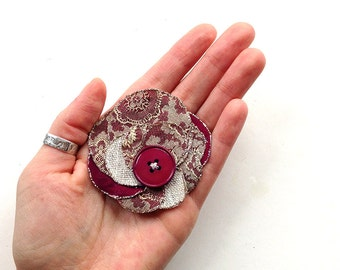 Chic handmade accessory -  brocade fabric, button and glitter, bobby pin, brooch, spring, upcycling, summer