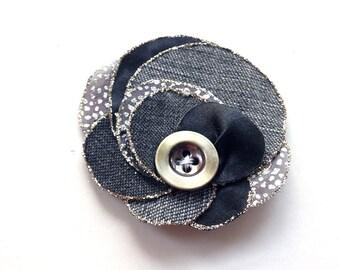Upcycled flower brooch made of denim fabric, bohemian, jeans, shabby, handmade, grey, blue