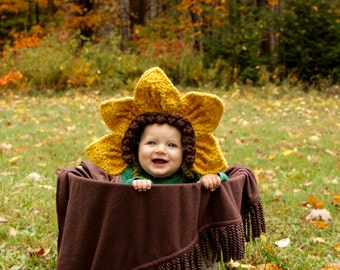 Sunflower Bonnet - Baby Girl Flower Bonnet - Flower Bonnet