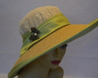 Derby Large Brim Sun Hat / Wedding Hat / Church Hat / Straw Hat