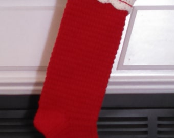 Crochet Traditional Christmas Stocking - Red with White