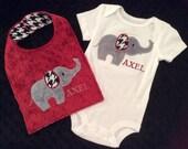Elephant Bodysuit and Bib Set