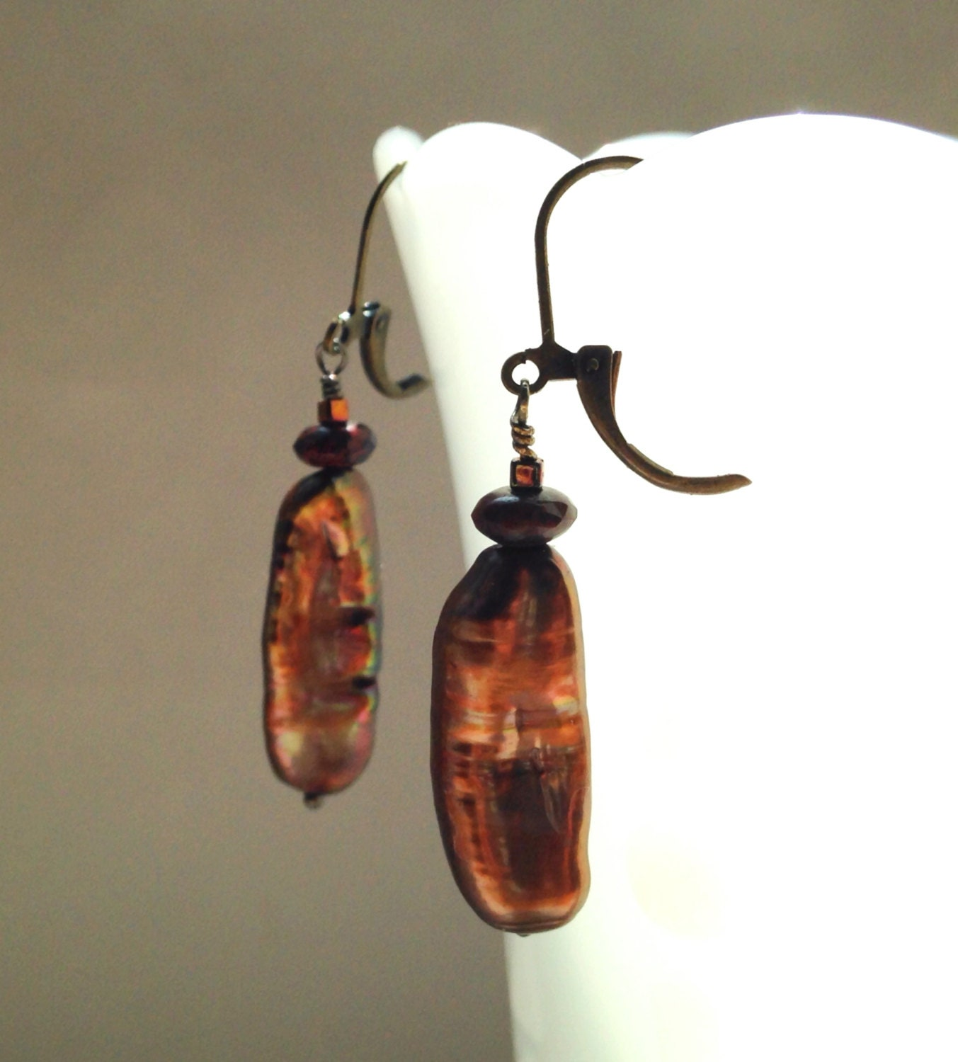 Bronze Biwa Pearl Earrings With Pierced By LFHJewelryDesigns