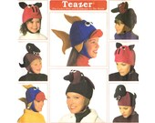 Fleece Hat Pattern Simplicity 7852, Teazer Animal Caps: Pig, Fish, Duck, Dinosaur, Uncut Sewing Pattern, Multi Size S-M-L Child & Adult