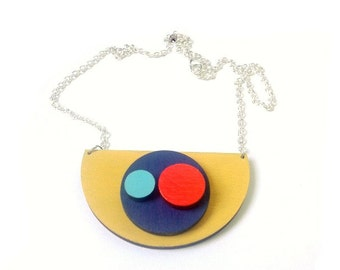 Large Mustard Abstract Arty Wooden Semi Circle Geometric Necklace