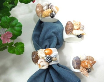 Sea Shell Napkin Rings, White Shell napkin holders Set of 4 vintage, acrylic, handmade tableware woman gift home décor