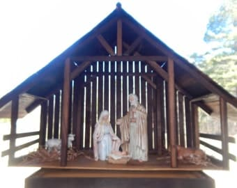 Wood Nativity Stable Creche Made to Order