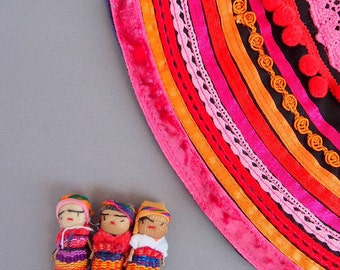 Pink Orange Ethnic  Necklace, Statement Fuchsia Tribal Collar, Textile Jewelry, gift for her, Folk inspired necklace