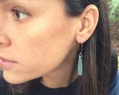 Sea Foam Green Chalcedony Drop Earrings 22K Gold Fill Ear Wire Gemstone Dangle Earrings