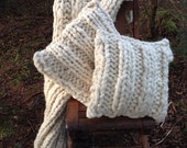 Super Chunky Knit Pillow Cover Large Knitted Cushion Cover Cream Knit Pillow Cover