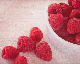 Bowl of Red Raspberries, Photography, Food Photography, Kitchen Art
