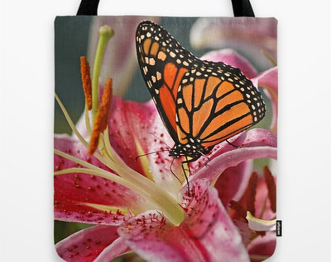 Monarch Butterfly on a Stargazer Lily Photo Tote Bag, Photo Tote, Butterfly Tote, Photography