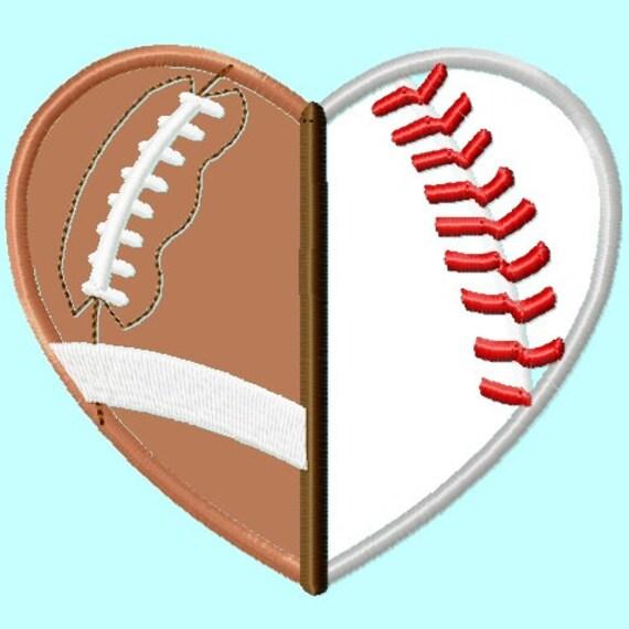 Football And Baseball Softball Heart Shape Applique