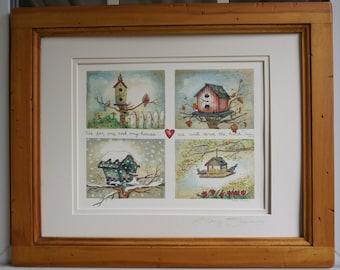 Four Seasons Birdhouse Watercolor Print - by Marji Stevens