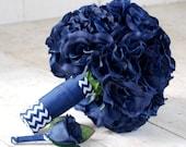 Silk bridal bouquet, navy blue, open roses, chevron ribbon, matching boutonniere