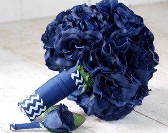Silk bridal bouquet, navy blue, open roses, chevron ribbon, nautical, matching boutonniere