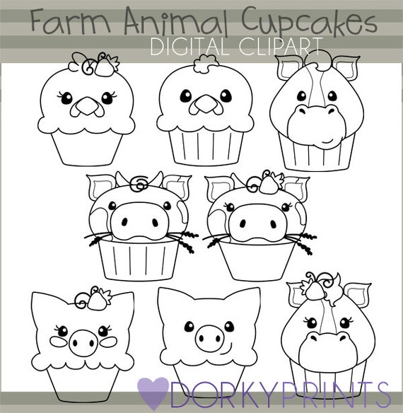 Line Art Farm Animals : Farm animals black line clipart personal and limited