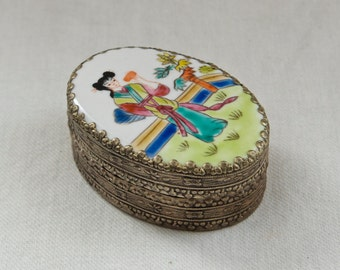 Vintage Asian box…embossed metal trinket box…powder box…porcelain geisha top.