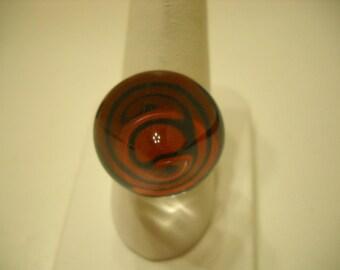 Vintage Lucite 3-D Dome Ring (9671) Adjustable, Spiral Design