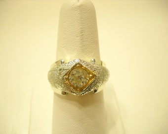 Vintage Silver Tone, Large Clear Rhinestone Ring (0118) Size 9