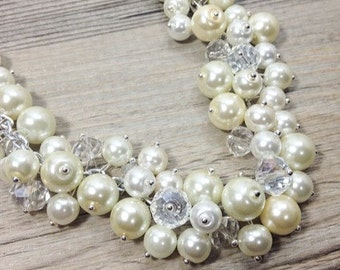 Bridal Necklace - White or Ivory with crystals - Cluster Pearl Wedding Jewelry for Bridesmaids